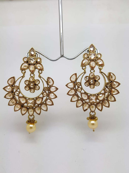 Prachy Creations : Reverse Stone Silver finish Clear Earrings - Bollywood - Fancy Dress - KAJ584P 0918, Large / LCT Gold / Antique