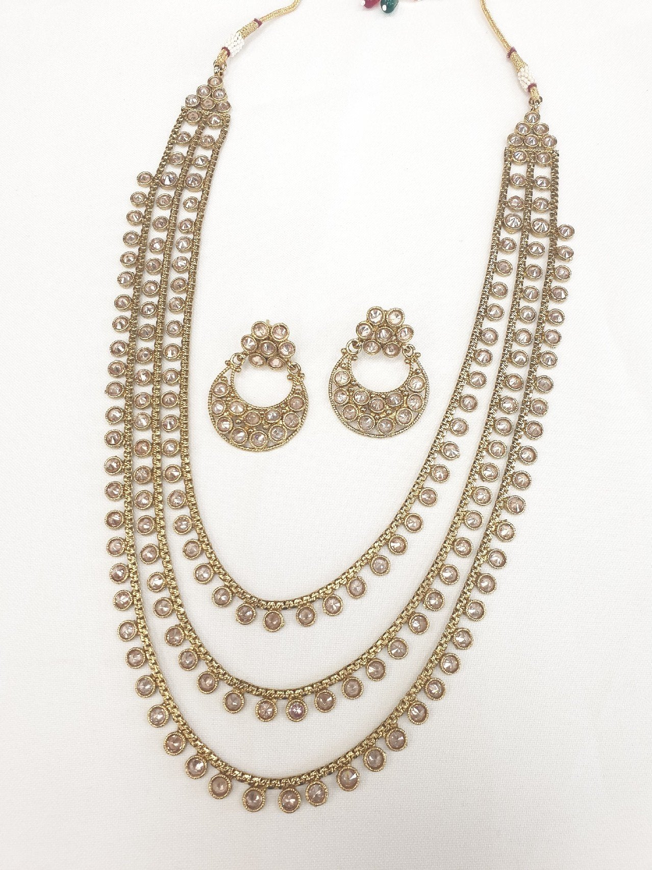Reverse stone necklace & Earrings set - Bollywood - Weddings - KAJ654 KJ0919 - Prachy Creations