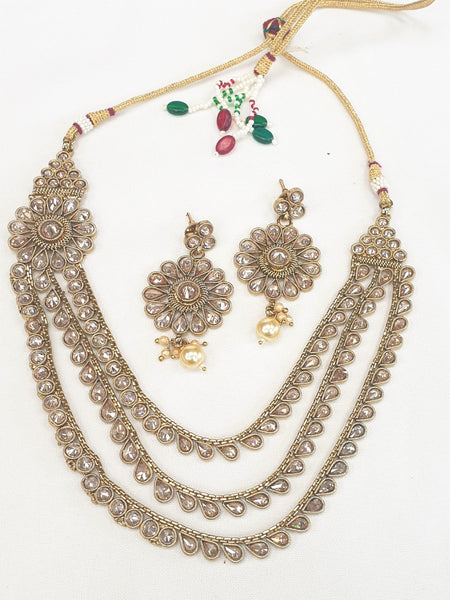 Ladies Choker necklace & Earrings set - Bollywood - Weddings - KAJ707 R0919