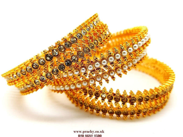 Kaj 378 kp 0217 - Pair of Antique Finish Bangles - Prachy Creations