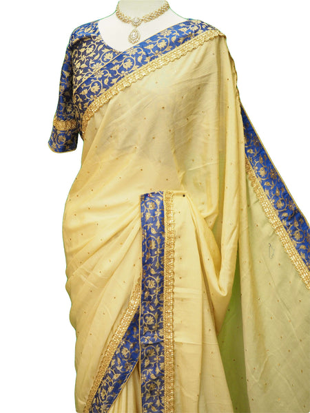 Prachy Creations : Silky Chiffon saree with contrast brocade Ready Made Blouse - KKT5535VY 0218, Royal Blue
