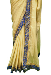 Silky Chiffon saree with contrast brocade Ready Made Blouse - KKT5535VY 0218 - Prachy Creations