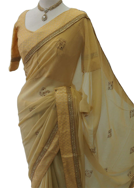 Classic simple saree with Handloom Brocade Ready Blouse - KKT5540VJ 0218