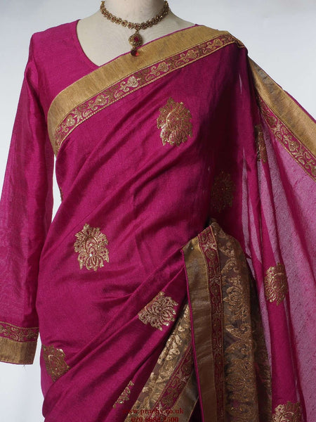 KV OF 26 ty 0516 - Dupion silk saree with long sleeved ready made blouse. - Prachy Creations