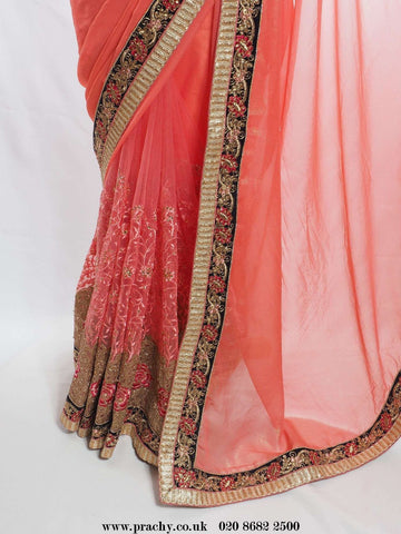 All INCL Pack - Half N Half net / Chiffon saree - Bollywood, Weddings - KV ee 2829 pp - Prachy Creations