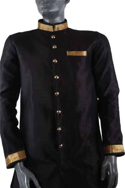 Prachy Creations : Karbhari 04TK17- Mens Black Blue Light Sherwani / Kurta set