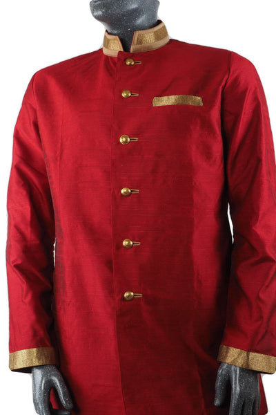 Prachy Creations : Karbhari 04TK17- Mens Red Blue Light Sherwani / Kurta set