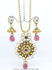LC 38 - Bollywood style Indian antique finish pendant set C0316 - Prachy Creations
