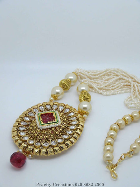 LC 98 - Bollywood style Indian antique finish pearl set KY0316 - Prachy Creations