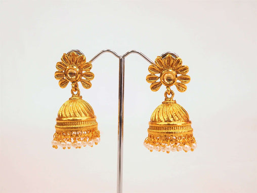 Prachy Creations : Traditional Indian Earrings - Jhumki -  Bollywood - Weddings - Party - LNA1017V 0918, Clear / Medium / Gold