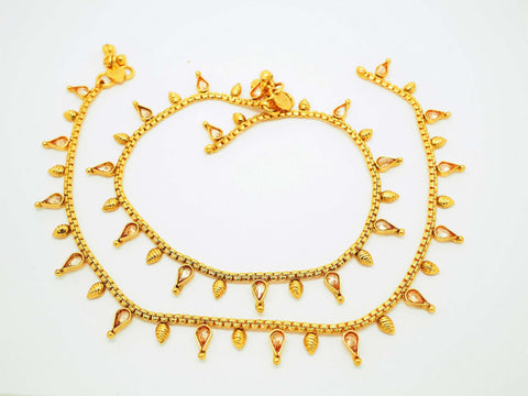 Pair of Ankle Chain / Payal / Pazeb - Fashion Jewellery - Bollywood - Weddings - LNA200J 0918