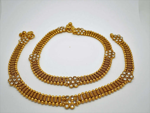 Prachy Creations : Pair of Ankle Chain / Payal / Pazeb - Fashion Jewellery - Bollywood - Weddings - LNA370A 1018, Clear / Gold