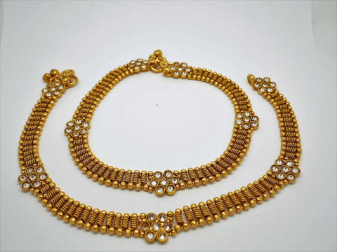 Pair of Ankle Chain / Payal / Pazeb - Fashion Jewellery - Bollywood - Weddings - LNA370A 1018