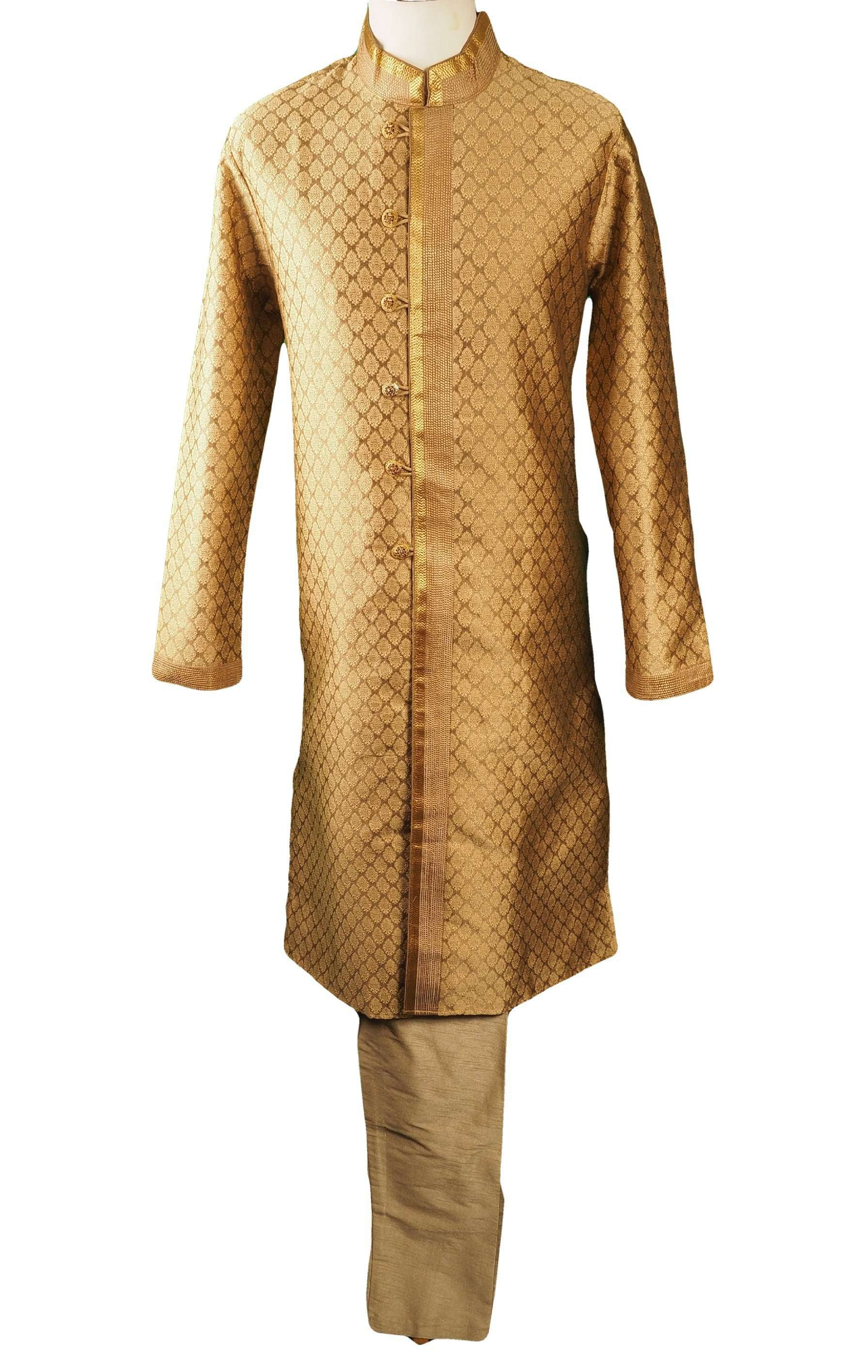 Antique Gold Mens Indian Kurta set for weddings, Bollywood Party ( with Draw stringed trousers) - Logan TY0218 - Prachy Creations