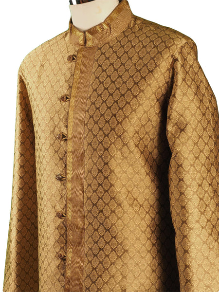 Prachy Creations : Antique Gold Mens Indian Kurta set for weddings, Bollywood Party ( with Draw stringed trousers) - Logan TY0218