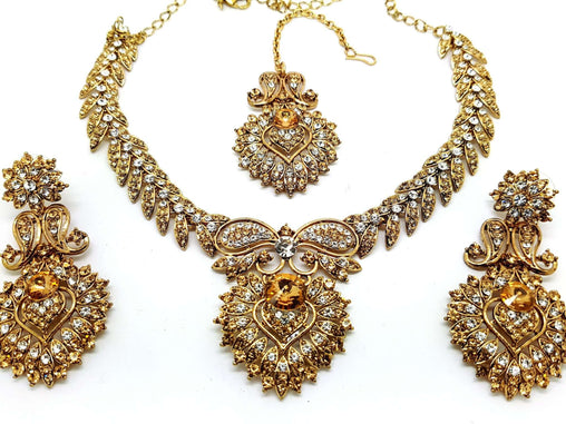 Prachy Creations : mj 76267 kyp 0217 - Choker set, Large / LCT / Clear / Antique