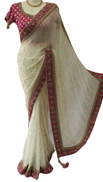 Stunning Chiffon Off White saree with rich border and brocade embroidered Blouse - MM1801KJP