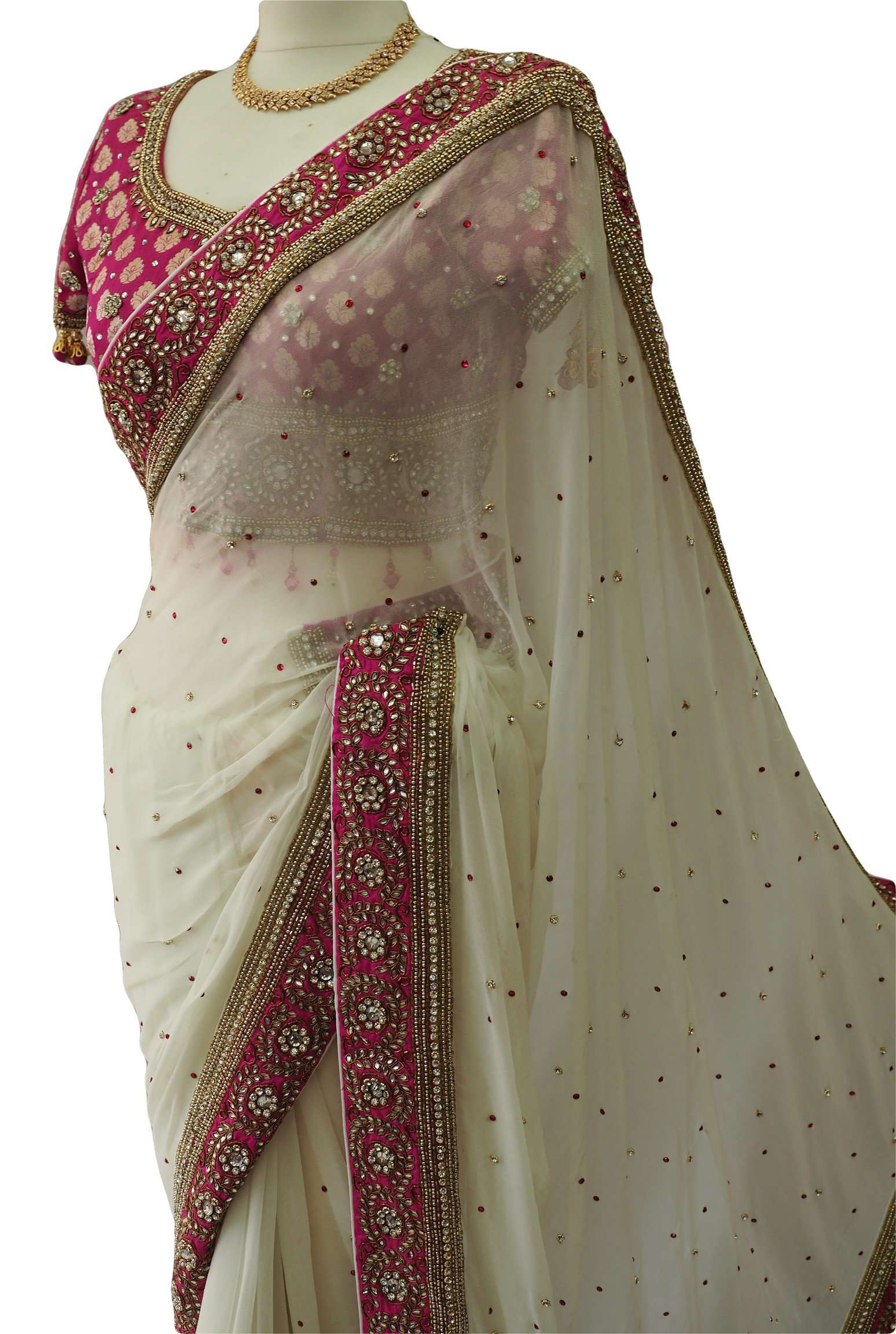 Stunning Chiffon Off White saree with rich border and brocade embroidered Blouse - MM1801KJP - Prachy Creations