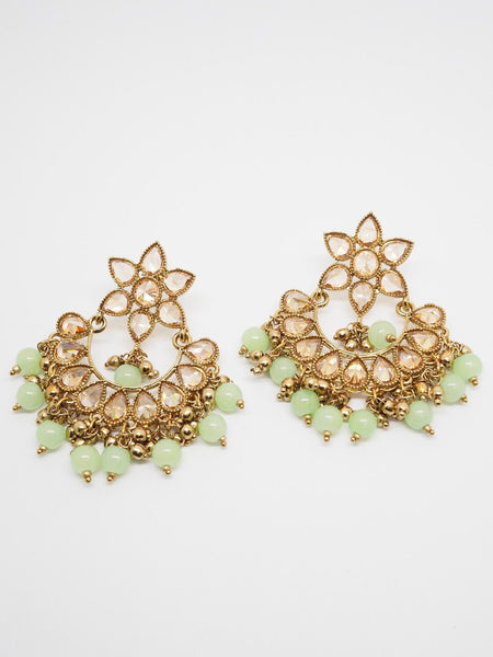 Reverse Stone Quality Antique Gold Finish Earrings - Bollywood - Fancy Dress - MNA218 Jp0919