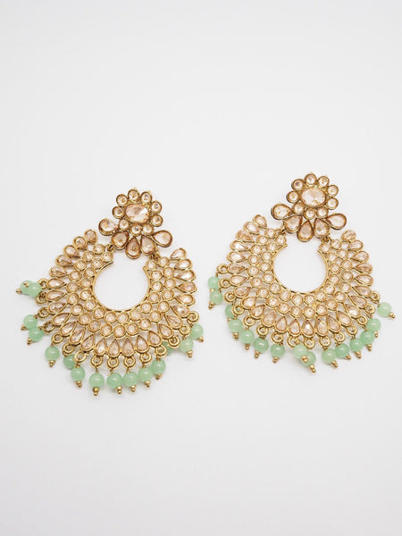 Reverse Stone Quality Antique Gold Finish Earrings - Bollywood - Fancy Dress - MNA236 P0919