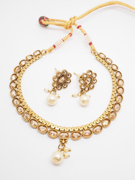 Choker necklace & Earrings set - Bollywood - Weddings - MNA244 P0919 - Prachy Creations