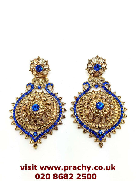 Prachy Creations : MY102 r 0217 - Antique finish earrings., Large / Blue / Antique