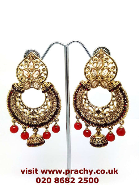 Prachy Creations : MY49 jp 0217 - Antique finish earrings., Large / Red / Antique
