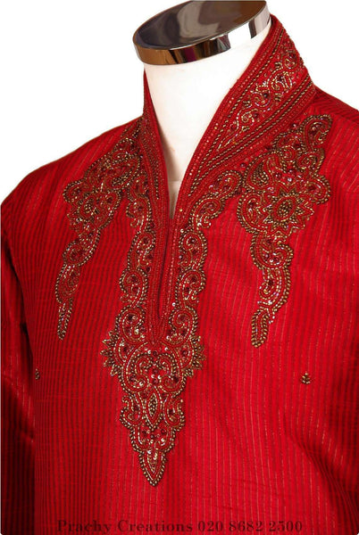 Prachy Creations : Striped handloom Red kurta with bead work - Magic VR 0316