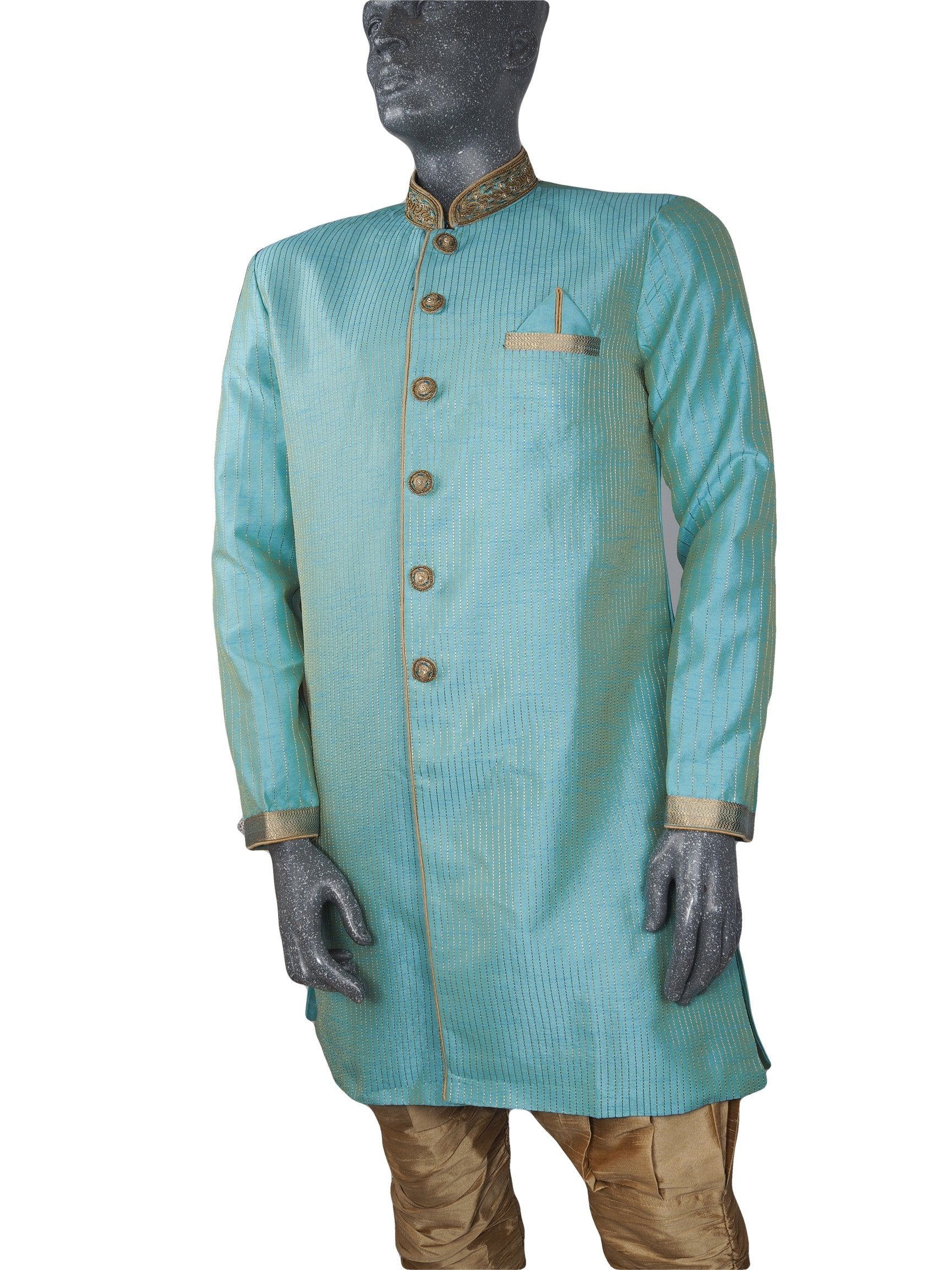 Mens Indian Sherwani Kurta set in Aqua Blue (with gold trousers) -Mahajan VC0819