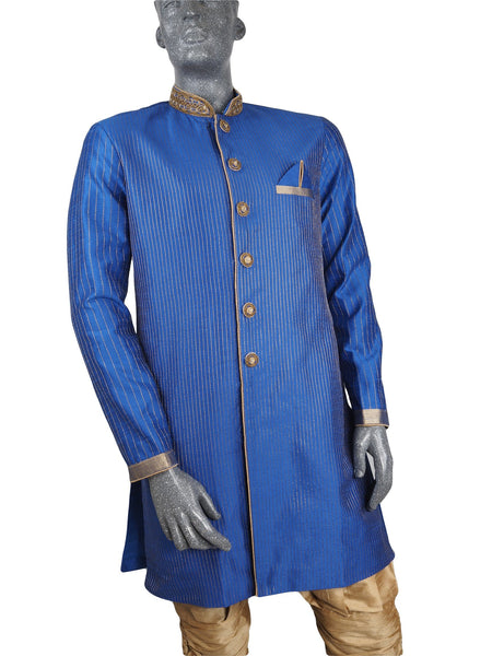 Mens Indian Sherwani Kurta set in Blue (with gold trousers) -Mahajan VC0819