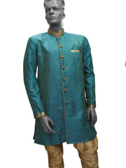 Mens Indian Sherwani Kurta set in Jade Green (with gold trousers) -Mahajan VC0819 - Prachy Creations