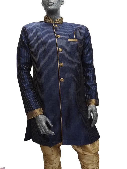 Mens Indian Sherwani Kurta set in Navy Blue (with gold trousers) -Mahajan VC0819