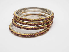 Prachy Creations : Disha Laakh Bangles - 15 colours- Handmade stone bangles (set of 4) Bollywood, Weddings, Party - 04VT18, 2.4 (Sm) / Maroon