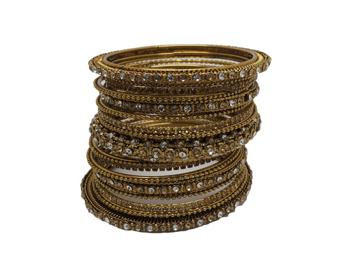 A set of 17 Gold / Clear stone Bangles set - Bollywood, Weddings, Fancy Dress JAN6642 T0519