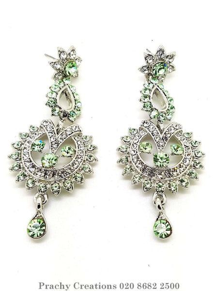 Prachy Creations : mj 1471 tp 0616 - Earrings, Light Green / Silver