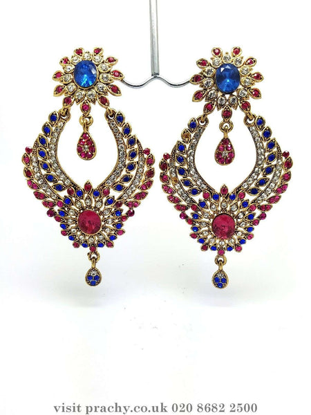 Prachy Creations : MJ 1719 - Earrings -  C 0816, Blue/Pink / Gold / Large