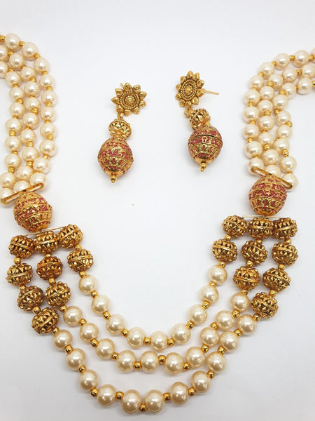 Long necklace and earrings set - Bollywood - Weddings - NIR579KV - 0919