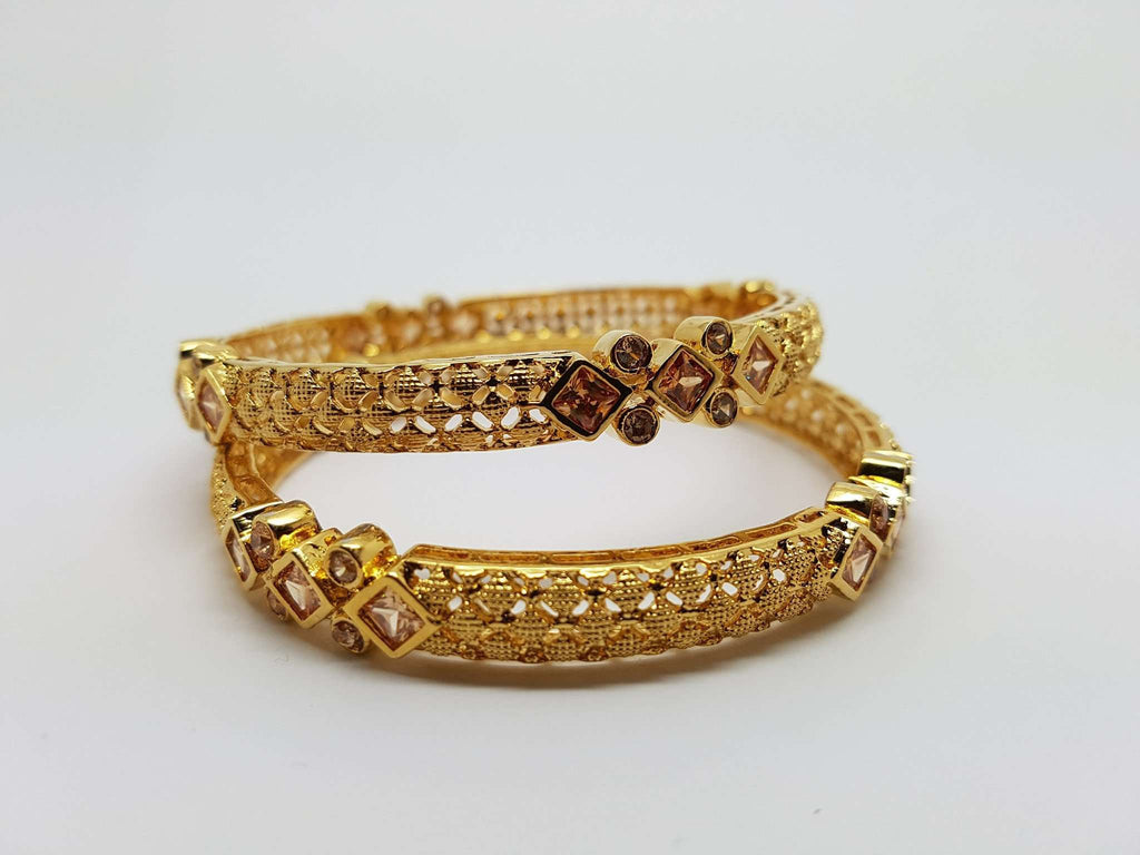 NP169 r - Antique finish Bangles - (Pair) - Prachy Creations