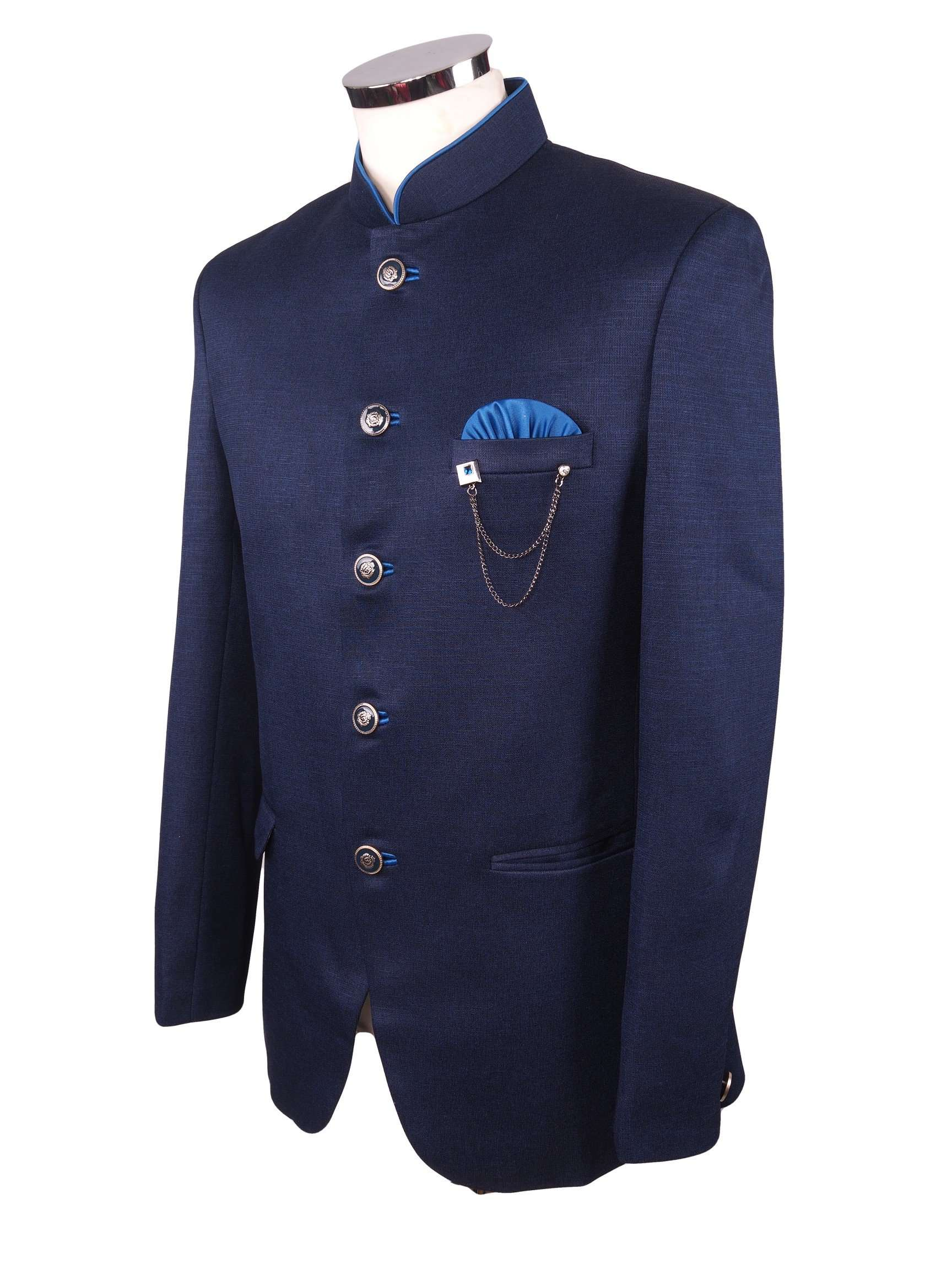 Mens Navy Blue BandhGala Nehru / Prince / Chinese Collar Jacket in Linen - Fantastic Fit - BGJ1901JY - Prachy Creations