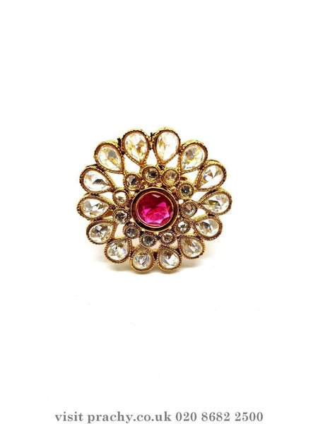 Prachy Creations : NIR 1081 - Finger ring - T 0816, Pink / Antique