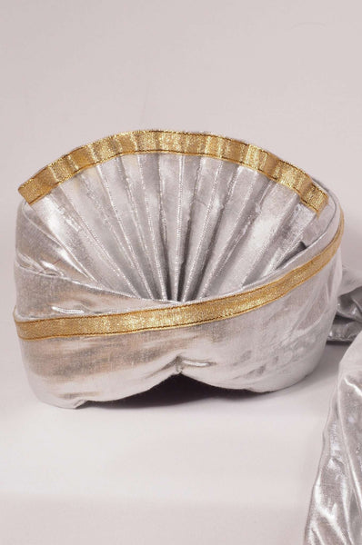 SGT 002 - Silver Turban with gold trim, Bollywood, weddings , fancy dress - Prachy Creations