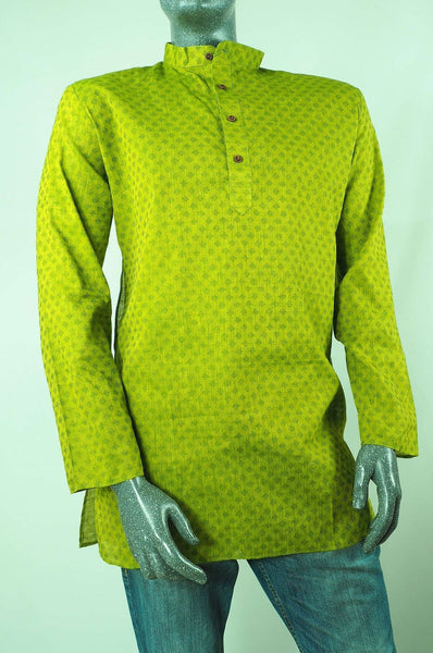 Prachy Creations : Adhikari - Lime Green Kurta top - Mens Indian shirt - Ideal on a pair of jeans C0417