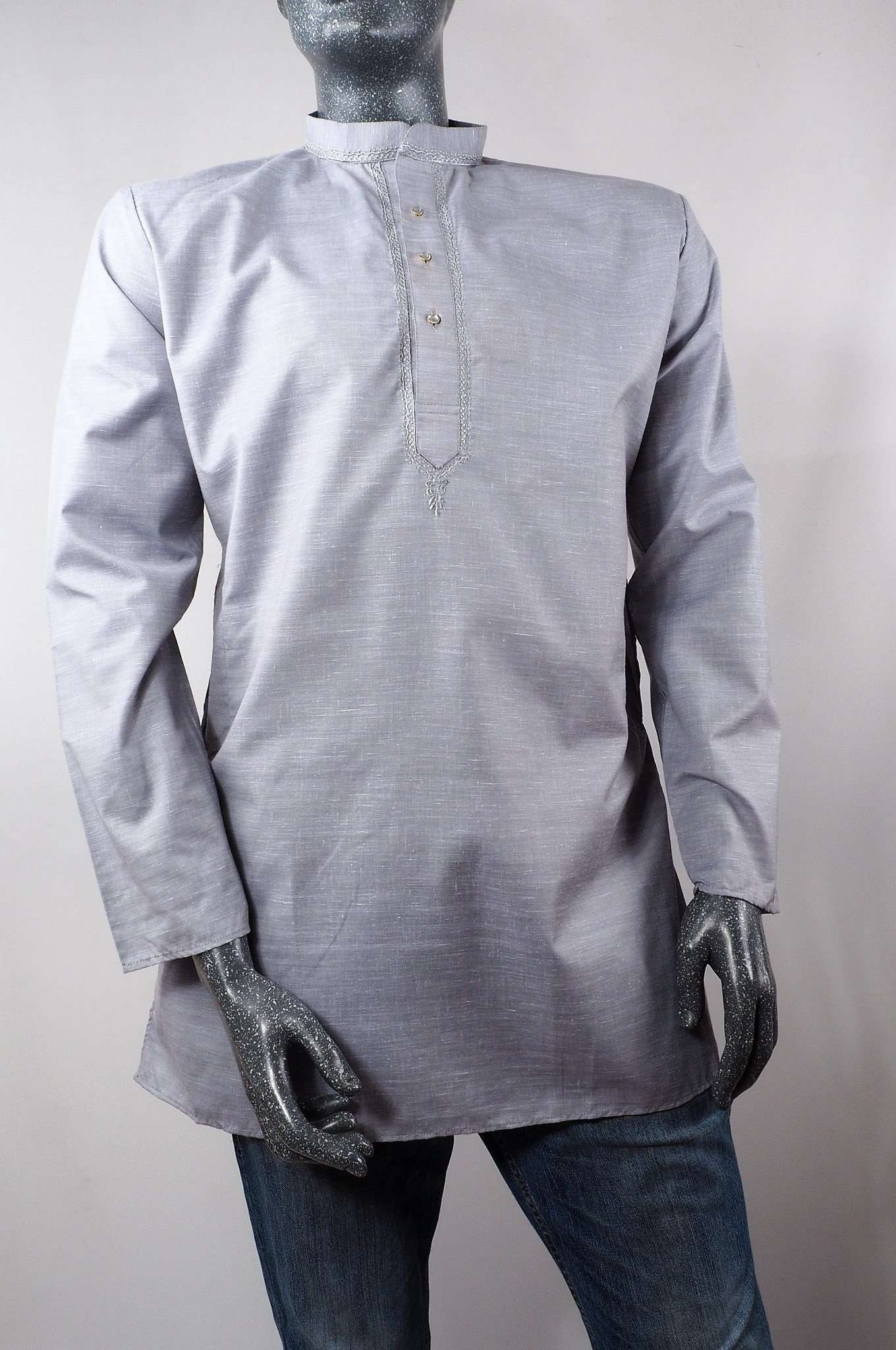 Accord - Mens Grey Indian shirt - Kurta top - Ideal on a pair of jeans 0417 - Prachy Creations