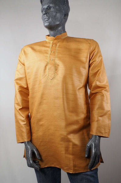 Prachy Creations : Adhish - Mens Golden Indian shirt - Kurta top - Ideal on a pair of jeans 0417