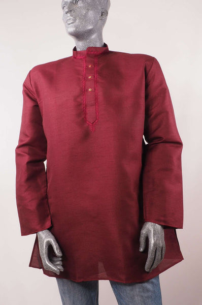 Aveo - Mens Maroon Indian shirt - Kurta top - Ideal on a pair of jeans 0417 - Prachy Creations