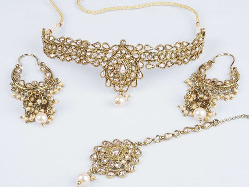 Prachy Creations : Reverse stone Choker necklace set - Bollywood - Weddings - OMJ1152 KV0419, Medium / LCT Gold / Antique