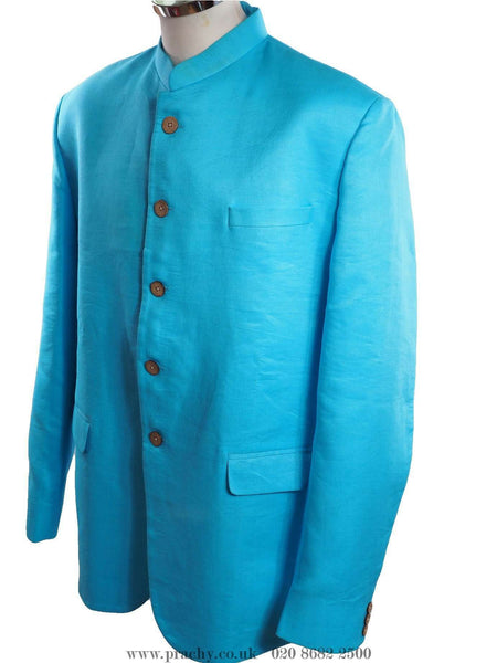 Prachy Creations : Smart Sky Blue Linen Nehru Bandhgala Jacket for Men - Bollywood Party tp 0716