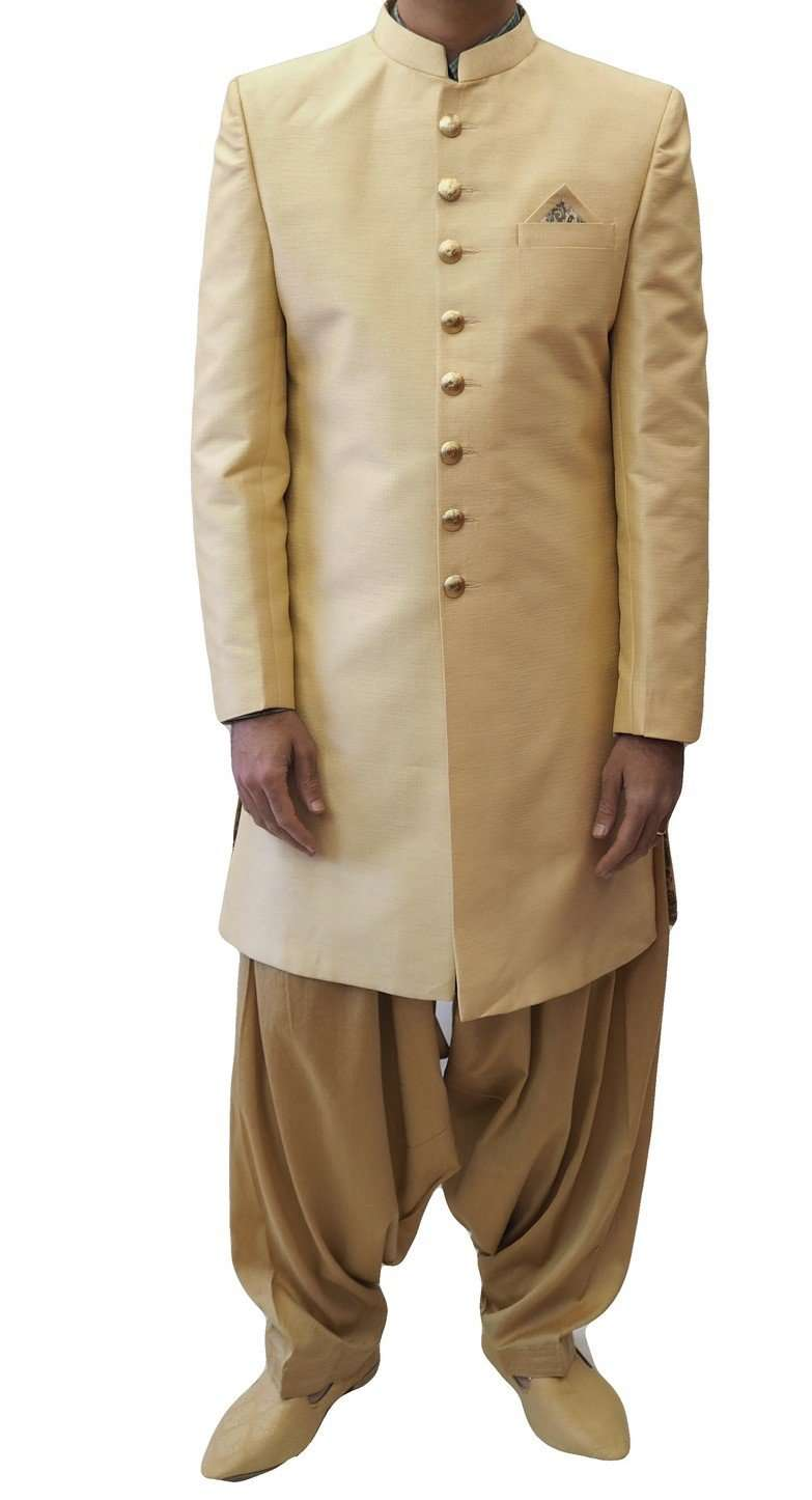Prachy Creations : Prachy Creations-Mens Ivory Gold  Sherwani set - With Salwar - Bollywood Party Weddings - VFEW859JY