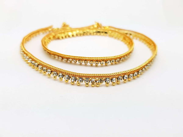 Pair of Ankle Chain / Payal / Pazeb - Fashion Jewellery - Bollywood - Weddings - PYL1805V 0918