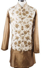 Gold Raw silk Kurta set with Jute Embroidered waistcoat - Bollywood, Weddings, Fancy Dress - SNC597CP - Prachy Creations